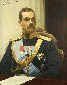 Sketch in oils of Michael: a brown-haired man with a moustache wearing a military uniform and medals sitting at a table with a sheet of paper in front of him