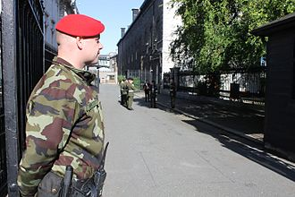 Government Buildings - An armed Military Police soldier on duty at Government Buildings in 2013