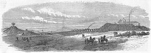 """Aldershot narrow-gauge suspension railway - Wood print """"Military Narrow-Gauge Railway, South Camp, Aldershot"""", 1872"""