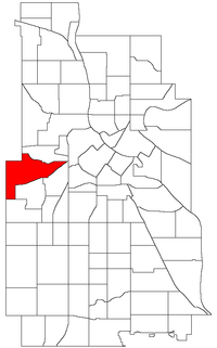 Location of Bryn Mawr within the U.S. city of Minneapolis