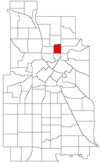 Location of Logan Park within the U.S. city of Minneapolis
