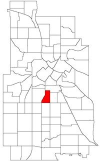 Location of Phillips West within the U.S. city of Minneapolis