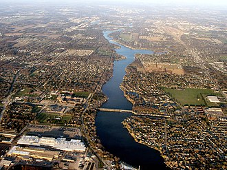 St. Joseph River (Lake Michigan) - St. Joseph River flowing west from Elkhart (top) through Osceola (middle) and into Mishawaka (bottom).