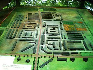 Westerbork transit camp - Model of the Westerbork concentration camp.
