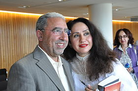 Mohammed Achaari and Rajaa Alem, joint winners of the 2011 Arabic Booker Prize.jpg