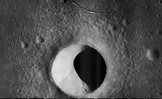 Moltke (crater) - High-resolution view from Lunar Orbiter 5