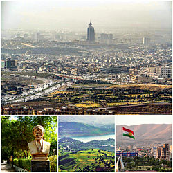 Clockwise, from top: Sulaymaniyah with the Grand Millennium Hotel, Azadi Park with the Kurdistan flag, Lake Dukan and statue of Sharaf Khan Bidlisi