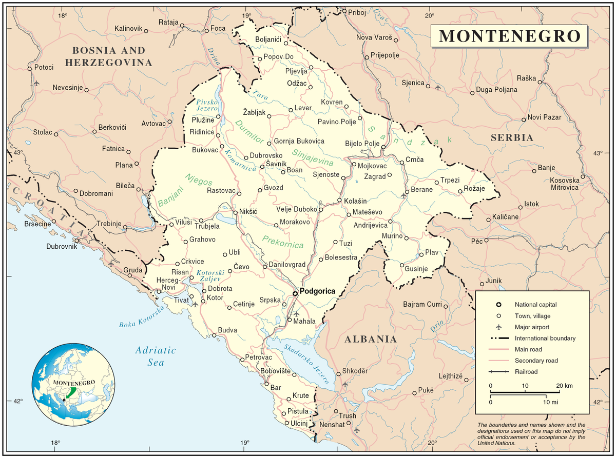 Geography Of Montenegro Wikipedia - Montenegro maps with countries