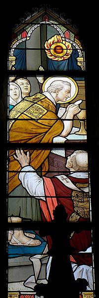 Vitrail de l'église Saint-Martin de Montflours (53). Miracle de la messe de Saint-Martin.