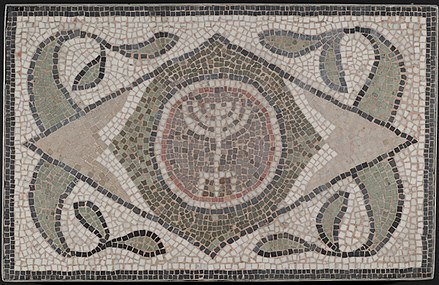Mosaic of Menorah from Hammam Lif synagogue, Tunisia, 6th c. Brooklyn Museum Mosaic of Menorah.05.27.jpg
