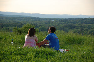 Holyoke Range - Two people enjoy the view from Mount Pollux