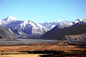 Mount Sunday, right foreground, and the Southern Alps