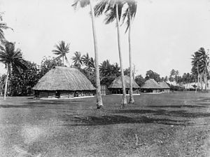 Mulinu'u - A historical photo of Mulinu'u showing oval Samoan fale. (photo taken between 1893-1949)