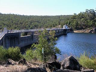 Mundaring Weir dam located in Mundaring, Western Australia