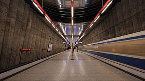 Mangfallplatz (Munich U-Bahn) - Mangfallplatz station platform.