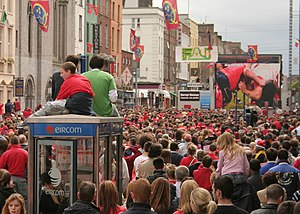 Rugby union in Ireland - Munster fans watching the 2005-06 Heineken Cup final on the streets of Limerick.