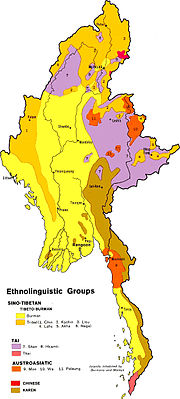An ethnolinguistic map of Myanmar