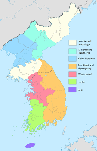 Colored map of Korea.