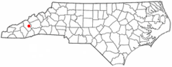 Location of West Canton, North Carolina