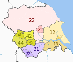 NUTS 3 regions of Yorkshire and the Humber 2010 map.svg