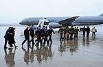 NZDF personnel escort remains of PJ Mollison and HL Herbert Lester Humm at Osan Air Base, Republic of Korea in 2018.jpg
