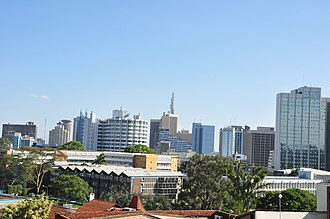 Nairobi - Nairobi showing Fedha Towers, ICEA Building, the Nairobi Safari Club and Anniversary Towers