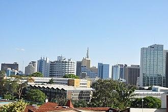 Nairobi - Nairobi showing Fedha Towers, ICEA Building, the Nairobi Safari Club and Anniversary Towers