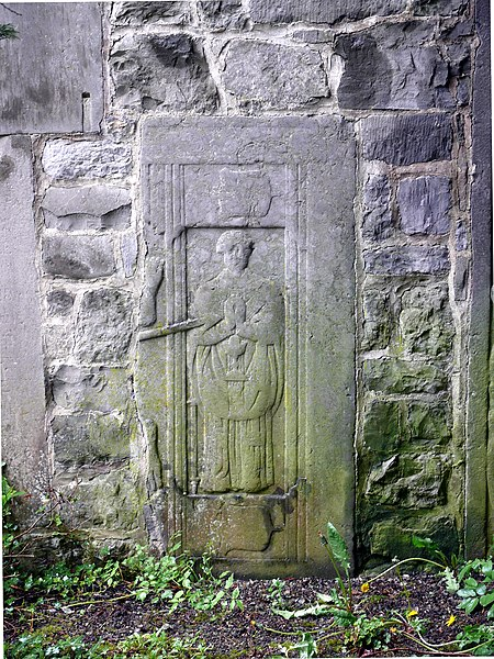 Mediaeval gravestones in the church yard of St-Berthuin's church  in Malonne (Namur).