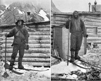 Cross-country skiing - Arctic travelers, Fridtjov Nansen and Hjalmar Johansen at the camp of Frederick Jackson on Northbrook Island in 1896.