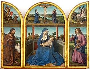 Triptyque de la Vierge à l'Enfant entre les deux saints Jean