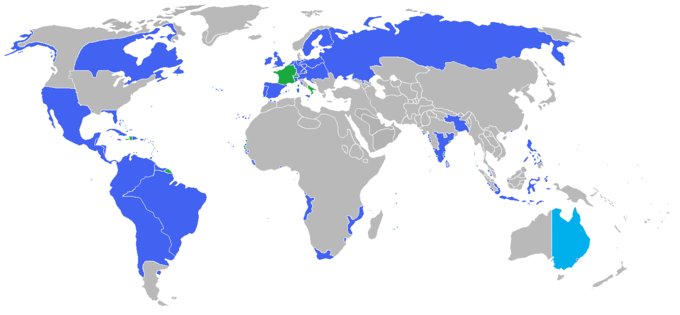 All the participants of the War of the Seventh Coalition. Blue: The Coalition and their colonies and allies. Green: The First French Empire, its protectorates, colonies and allies. Napoleonic Wars War of the Seventh Coalition.png