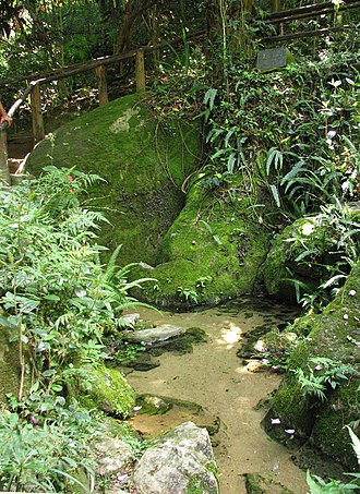 Tietê River - Source of the Tietê River in Salesópolis: The water flows over stones.