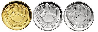 National Baseball Hall of Fame and Museum - Examples of the National Baseball Hall of Fame coins produced by the United States Mint