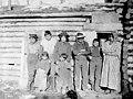 Native Americans in front of log cabin, Copper Center, Alaska, 1906 (AL+CA 6746).jpg