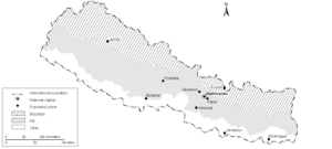Mid-Hills Highway - The Mid-Hills region in map of Nepal