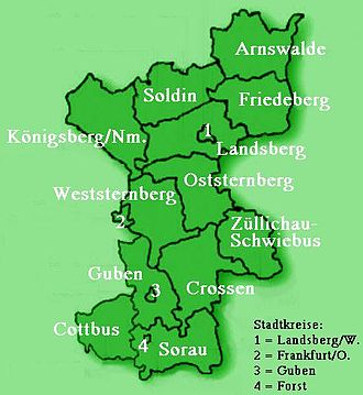 Neumark - Districts in the Neumark as of 1873