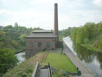Water levels of the Birmingham Canal Navigations - Another view of the New Smethwick Pumping Station, with the Wolverhampton Level to the right and the Birmingham Level on the left