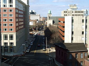 New Brunswick, New Jersey - Looking north from the corner of New and George Streets. The Heldrich Center is on the left.