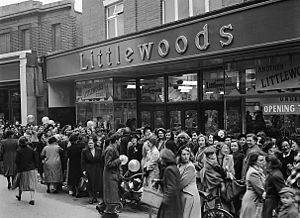 Littlewoods - Crowds gather for the opening of a new Littlewood's Store at Oswestry, 1950