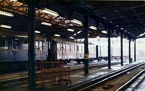 Night Ferry - Night Ferry stock in the carriage sheds at London Victoria