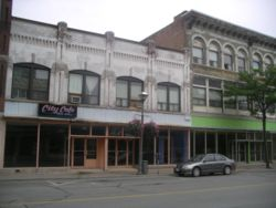 Some of the many vacant buildings in the Queen Street downtown area