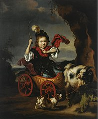 A Portrait of a young Boy in a Goat Cart