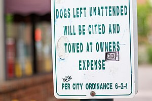 Sign, No Unattended Dogs in Flagstaff.
