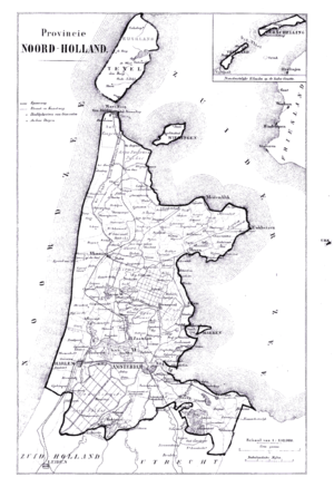 Wieringen - Map of North Holland from 1865 with Wieringen still an island