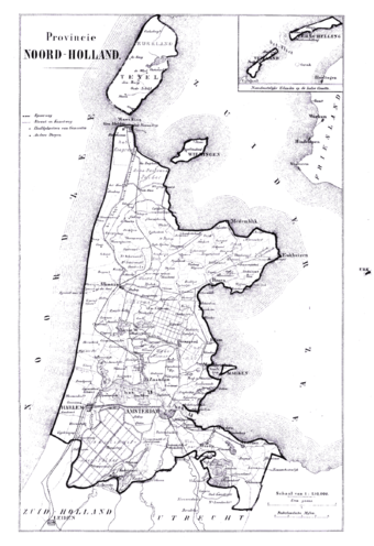 19th century map of North Holland Noord Holland 1865.png