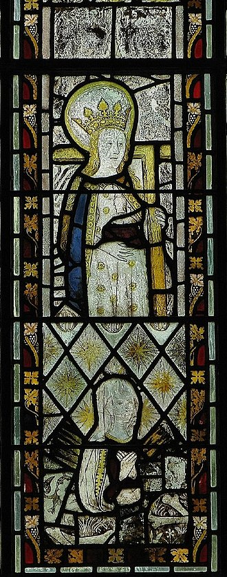 Norbury, Derbyshire - Stained glass in chancel east window (15th century, detail in church of St Mary and St Barlok