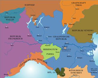 Sister republic - Image: Norditalien 1803