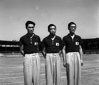 1952 World Table Tennis Championships - Norikazu Fujii, Nishimura and Satoh of Japan, which won Gold in respective games.