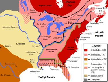 KAART van de 1763 Verdrag van Parijs claims in Noord-Amerika door de Britten en Spanjaarden.  De Britten claimen ten oosten van de rivier de Mississippi, inclusief de Florida's die door Spanje zijn afgestaan, en het voormalige Franse Noord-Amerika langs de St. Lawrence-rivier, in het westen door de Grote Meren en in het zuiden langs de oostelijke oever van de rivier de Mississippi.  Spaanse claims voegden Franse cessies toe van Frans Louisiana in het oosten tot de rivier de Mississippi.