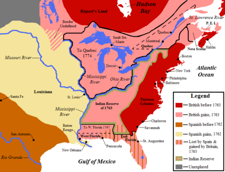 Territorial changes following the French and Indian War: land held by the British before 1763 is shown in red, land gained by Britain in 1763 is shown in pink. NorthAmerica1762-83.png